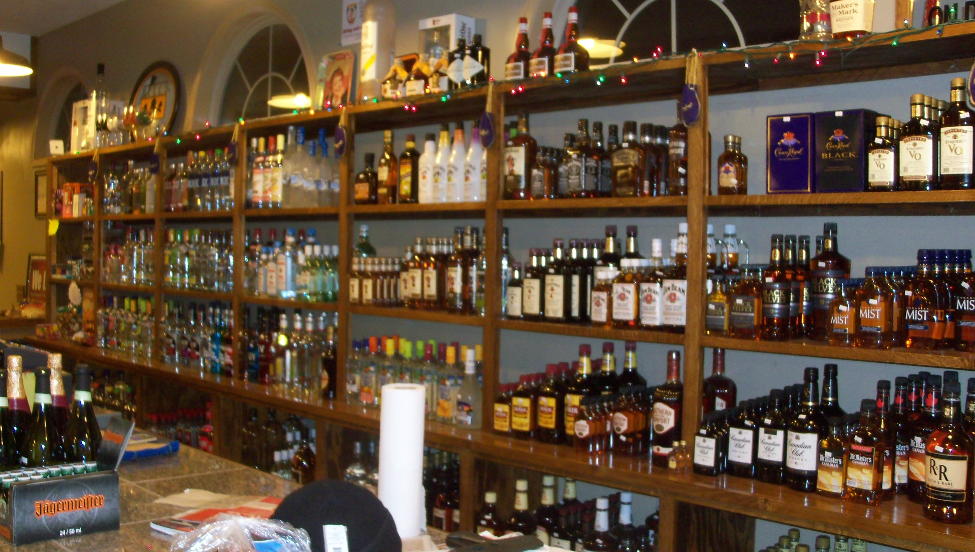 The liquor shelves